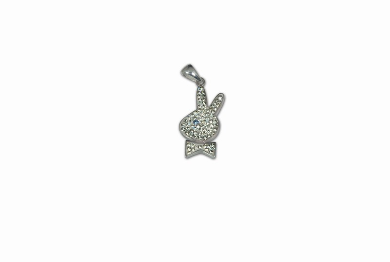 """""""SILVER 925° RABBIT """"""""PLAYBOY"""""""" WITH STRASS PENDANT 34x15mm"""""""