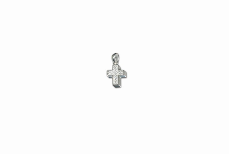 SILVER 925° CROSS WITH STRASS PENDANT 19x13mm