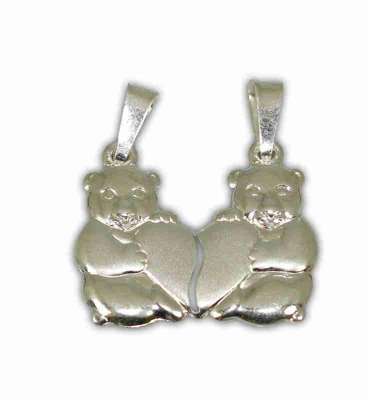 SILVER 925° TEDDYBEARS WITH HEART PENDANT 21x25mm