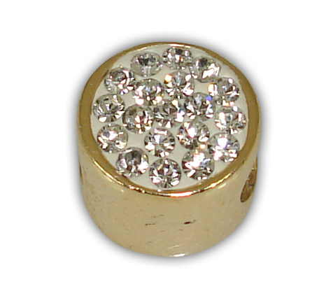SILVER 925° ROLL WITH STRAS SWAROVSKI  GOLD-PLATED STRAINED 8x9mm