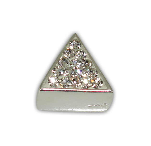 SILVER 925° TRIANGLE WITH STRASS SWAROVSKI STRAINED 9x9mm