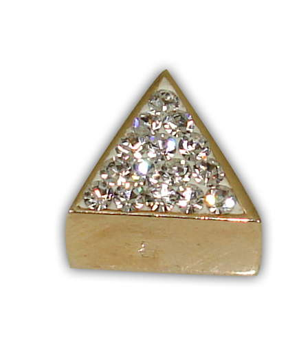 SILVER 925° TRIANGLE WITH STRASS SWAROVSKI GOLD-PLATED STRAINED 9x10mm
