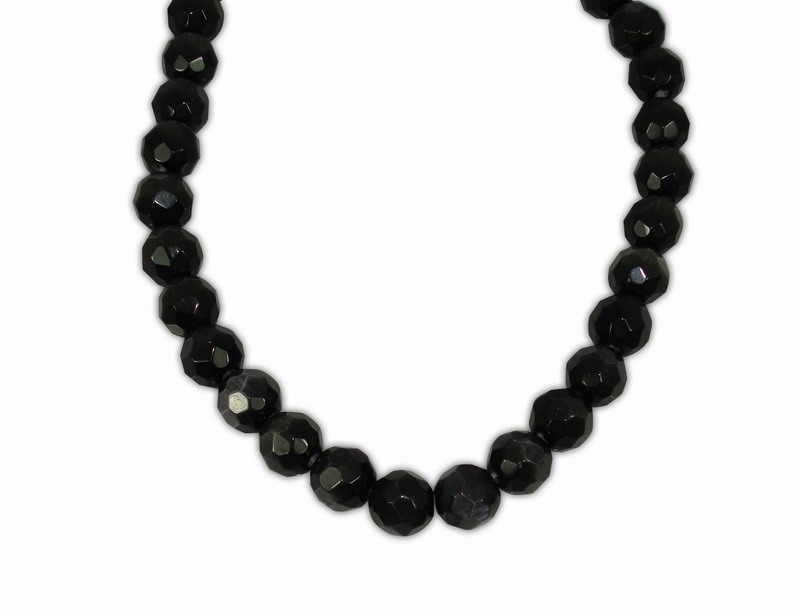 CAT'S EYE BALL FACETED BLACK 10mm
