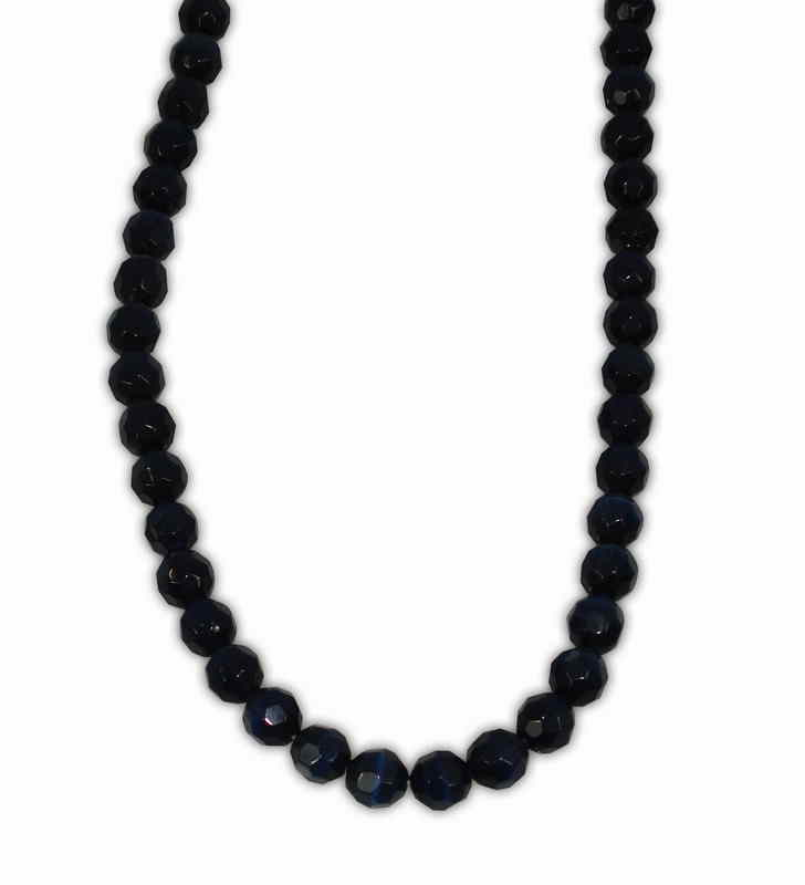 CAT'S EYE BALL FACETED BLUE BLACK 6mm