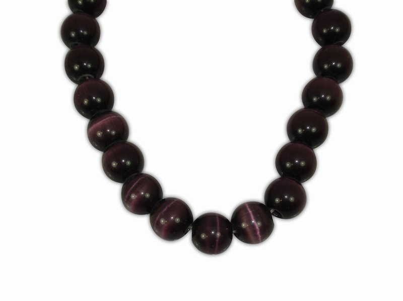 CAT'S EYE BALL DARK PURPLE 12mm WITH 2,5mm HOLE
