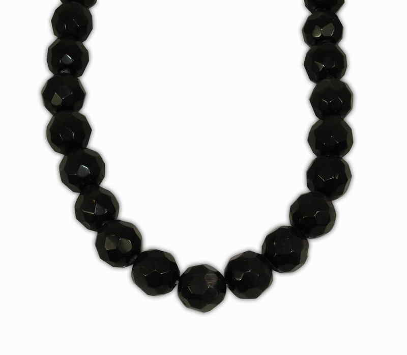 CAT'S EYE BALL FACETED BLACK 12mm