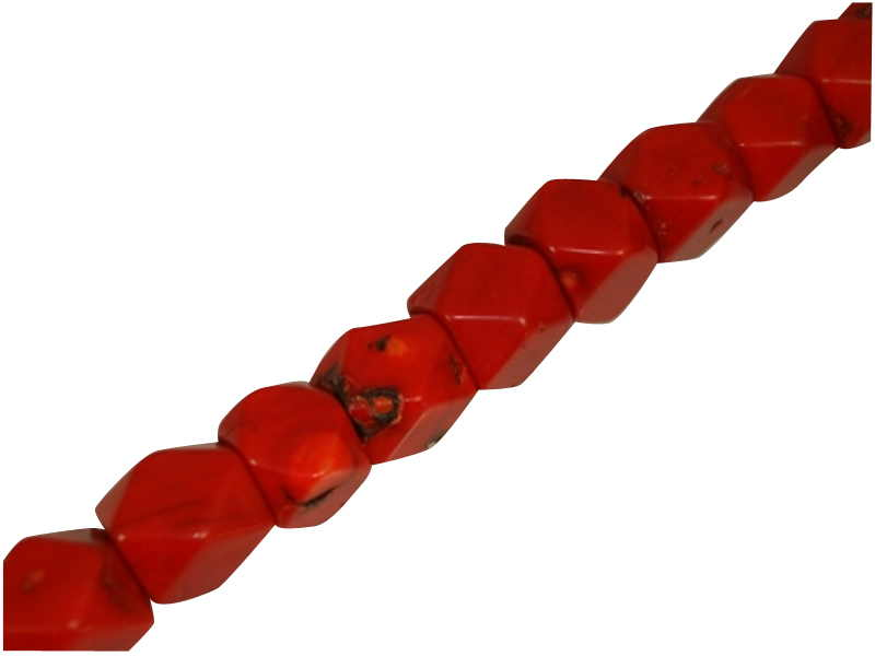 CORAL  RED FACETED 14x15mm