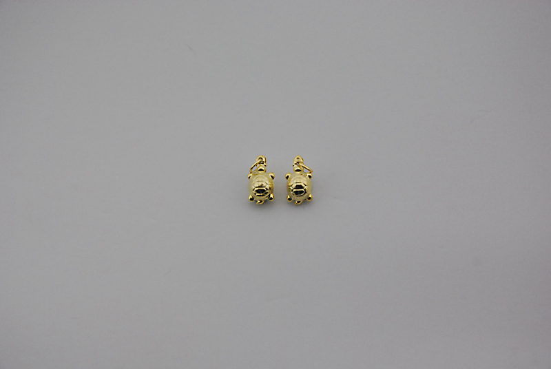SILVER 925° TURTLE GOLD PLATED 7x2mm