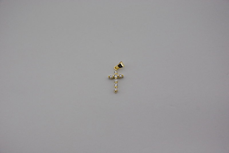 SILVER 925° CROSS WITH ZIRCON GOLD PLATED 19x10mm