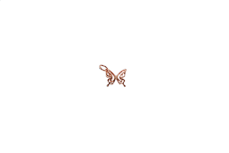 SILVER 925o BUTTERFLY PINK GOLD PLATED 13x13mm