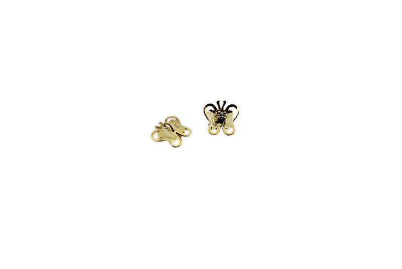 925° SILVER BUTTERFLY WITH ZIRCON GOLD PLATED 14mm
