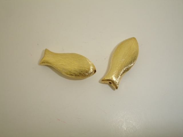925° SILVER MAT FISH GOLD PLATED 30x12mm 3,5g/PIECE (2PIECE THE PACK)