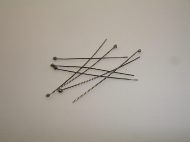 925° SILVER RUTENIO PLATED HEADPIN 5cm WITH 0.6mm WIRE GAUGE 0,177g/PIECE (15PIECES PER PACK)