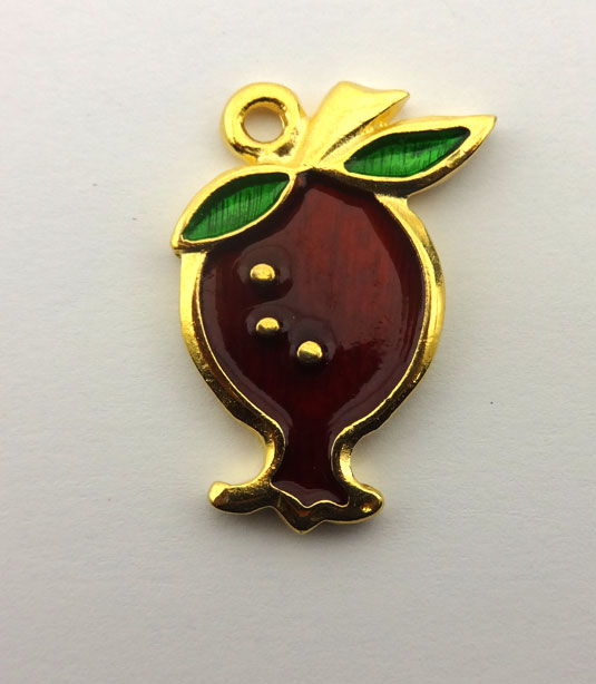 GOLD PLATED POMEGRANATE WITH ENAMEL 20x30mm