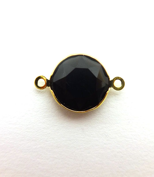 ROUND BLACK COLOR WITH GOLD PLATED FRAME 20x12mm
