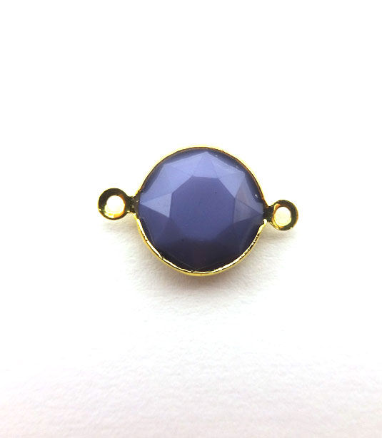 ROUND LILAC COLOR WITH GOLD PLATED FRAME 20x12mm