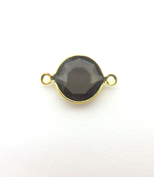 ROUND BLACK TRANSPARENT COLOR WITH GOLD PLATED FRAME 20x12mm