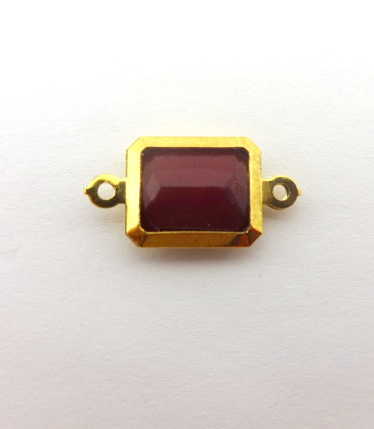RECTANGLE POMEGRANATE COLOR WITH GOLD PLATED FRAME 19x10mm