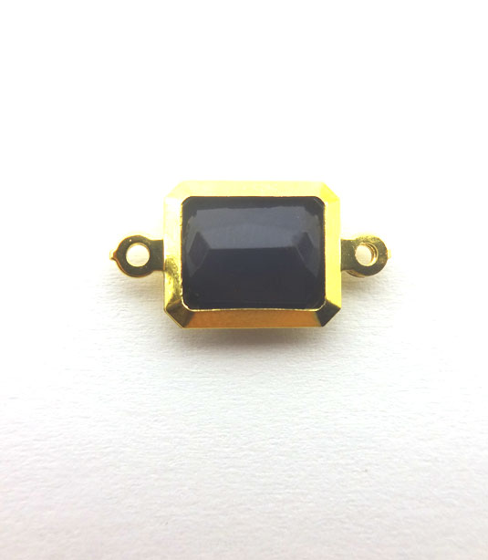RECTANGLE DARK BLUE COLOR WITH GOLD PLATED FRAME 19x10mm