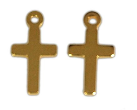 SILVER 925° CROSS GOLD PLATED 6x12mm