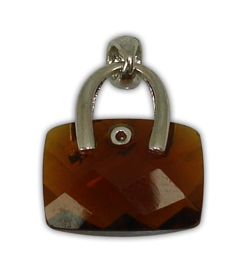 925° SILVER  BAG WITH ZIRCON COLOUR BROWN PENDANT 16x14mm