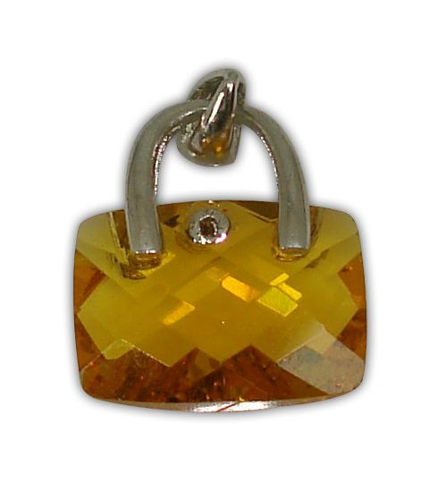 925° SILVER BAG WITH ZIRCON COLOUR YELLOW PENDANT 16x14mm