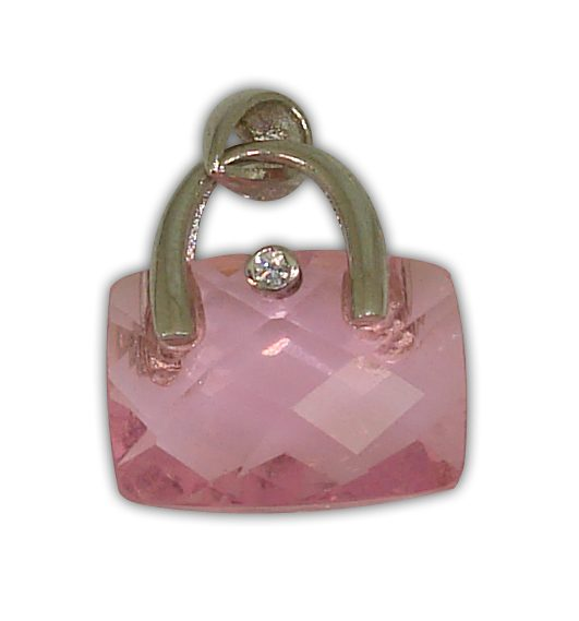 925° SILVER BAG WITH ZIRCON COLOUR PINK PENDANT 16x14mm
