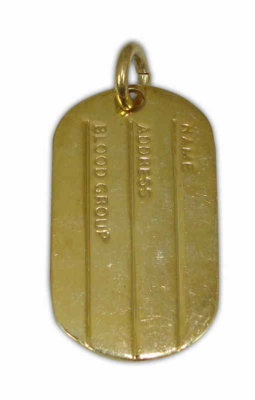 SILVER 925° IDENTITY MILITAR TAB GOLD PLATED PENDANT 18x31mm
