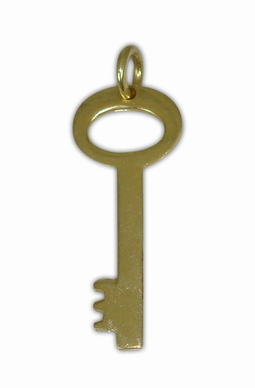SILVER 925° KEY GOLD-PLATED WITH ROUND GRASP PENDANT 12Χ31mm