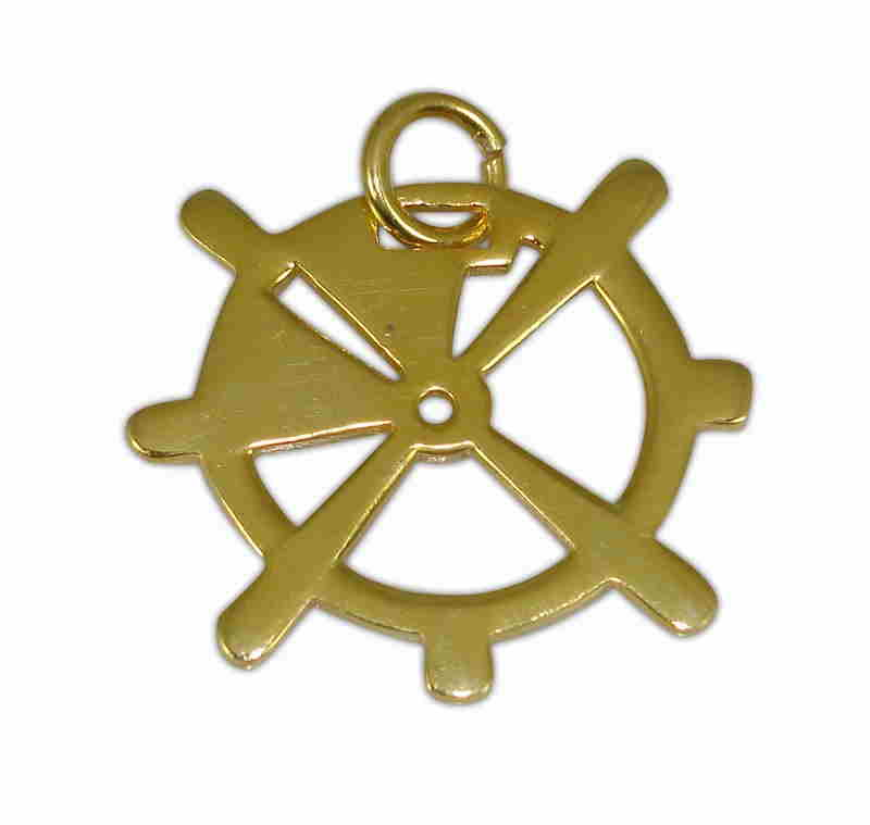 SILVER 925° WHEEL GOLD-PLATED PENDANT 31x31mm