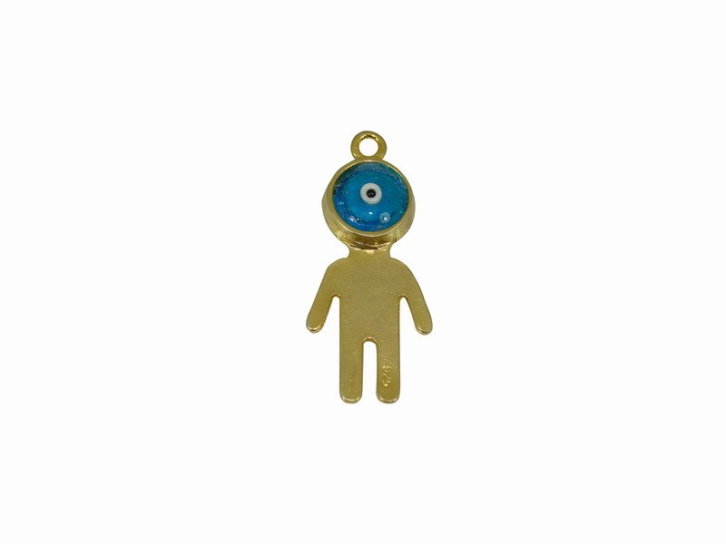 SILVER 925° BOY WITH TURQOISE BLUE EYEBALL  GOLD-PLATED PENDANT 17x42mm