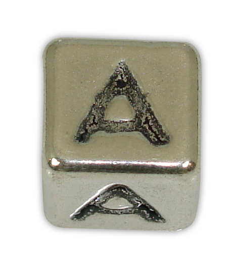SILVER 925° CUBE WITH GREEK LETTER ''A'' STRAINED 10x10mm