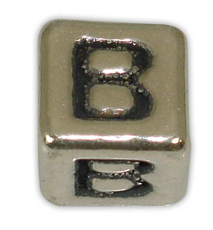 SILVER 925° CUBE WITH GREEK LETTER ''B'' STRAINED 10x10mm