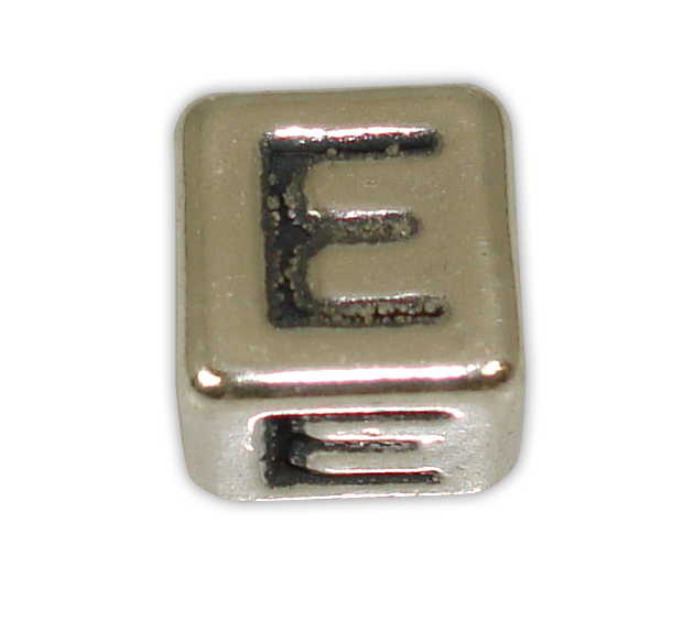 SILVER 925° CUBE WITH GREEK LETTER ''E'' STRAINED 10x10mm