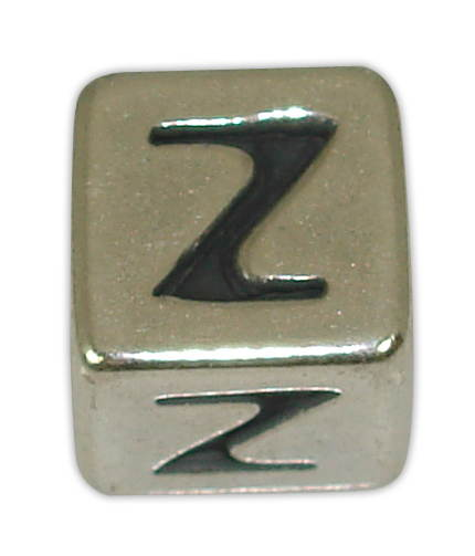 SILVER 925° CUBE WITH GREEK LETTER ''Z'' STRAINED 10x10mm