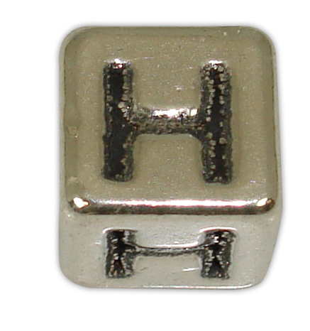 SILVER 925° CUBE WITH GREEK LETTER ''H'' STRAINED 10x10mm