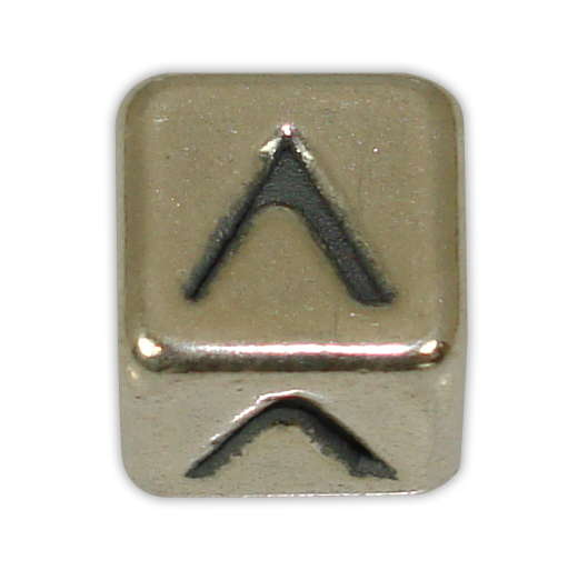 SILVER CUBE WITH GREEK LETTER ''Λ'' STRAINED 10x10mm