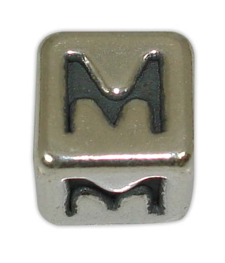 SILVER 925° CUBE WITH GREEK LETTER ''M'' STRAINED 10x10mm