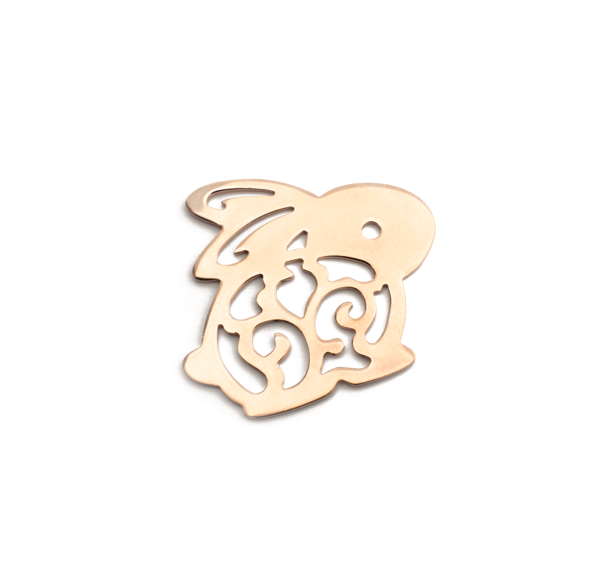 RABBIT PINK GOLD PLATED 50x40mm ( BRASS )