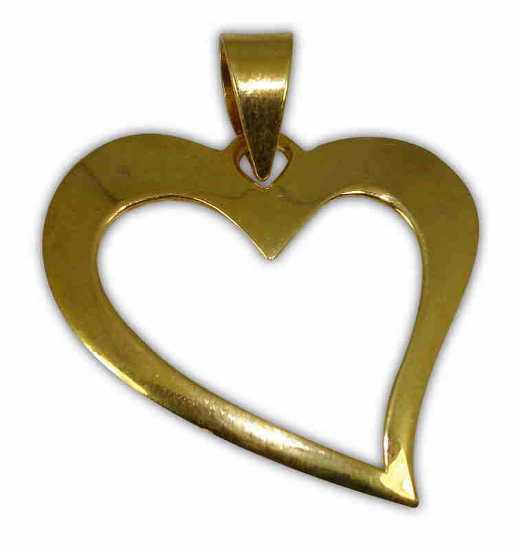 SILVER 925° HEART CONTOUR GOLD-PLATED PENDANT 27x30mm