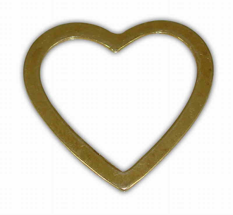 SILVER 925° HEART CONTOUR FLAT GOLD-PLATED 30x31mm
