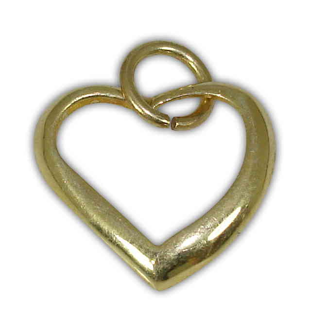 SILVER 925° HEART CONTOUR GOLD-PLATED PENDANT 15x16mm