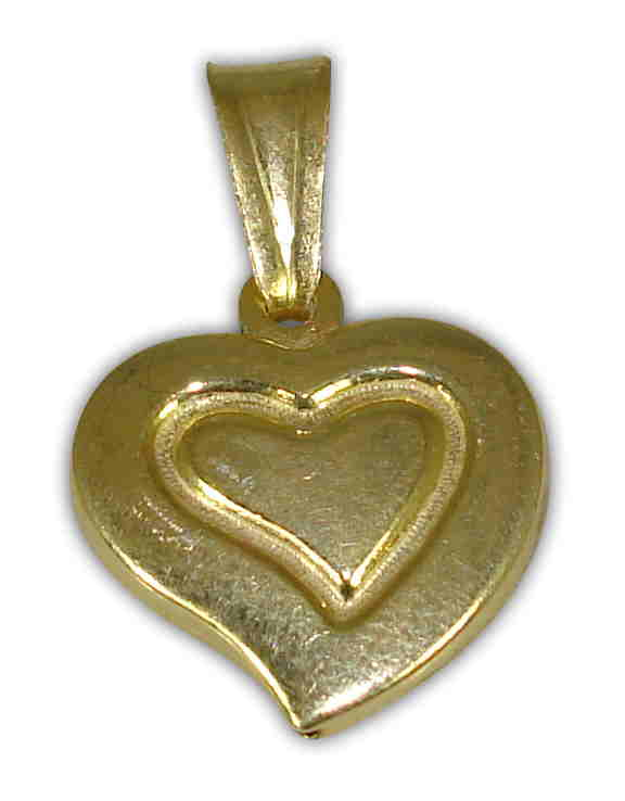SILVER 925° HEART  GOLD-PLATED PENDANT 14x16mm
