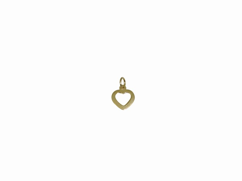 SILVER 925° HEART CONTOUR GOLD-PLATED PENDANT 10mm