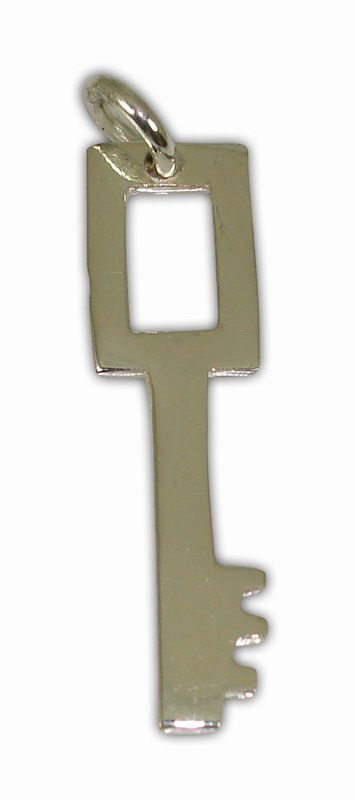 SILVER 925° KEY WITH GRASP IN RECTANGULAR SHAPE  PENDANT 8x30mm