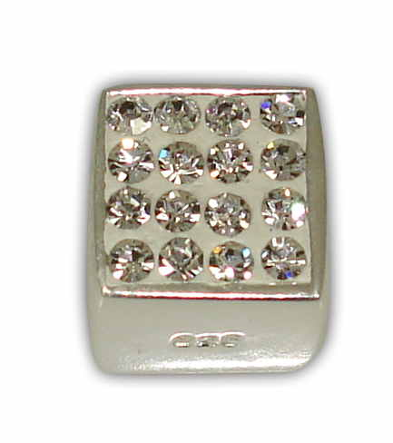 SILVER 925° CUBE WITH STRAS SWAROVSKI STRAINED 8mm