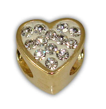 SILVER 925° HEART WITH STRASS SWAROVSKI GOLD-PLATED STRAINED 8x9mm
