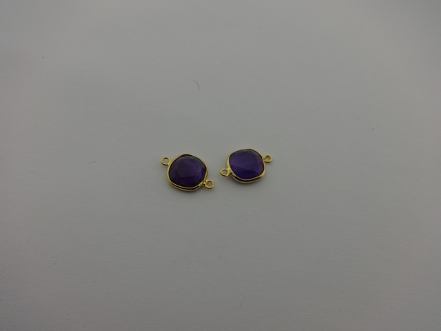 925° SILVER GOLD PLATED AMETHYST 11x17mm (2PIECES PER PACK)