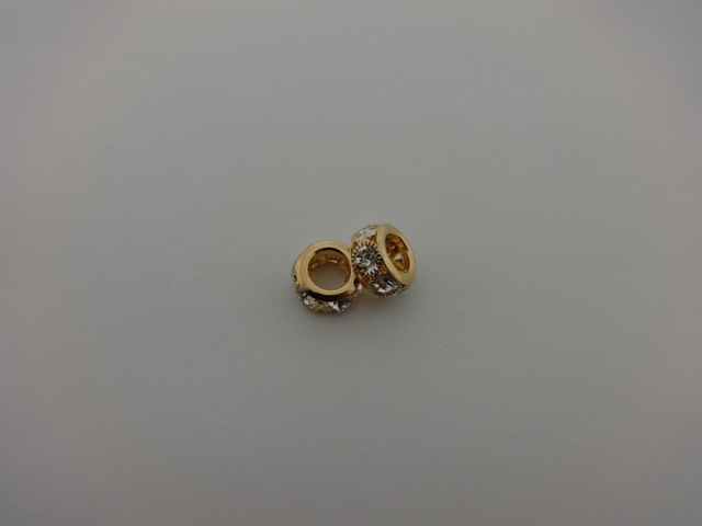 PINK GOLD PLATED RONDELLE WITH STRASS 15mm