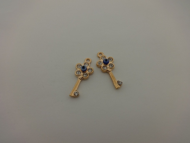 PINK GOLD PLATED KE WITH EYE AND STRASS 17x43mm